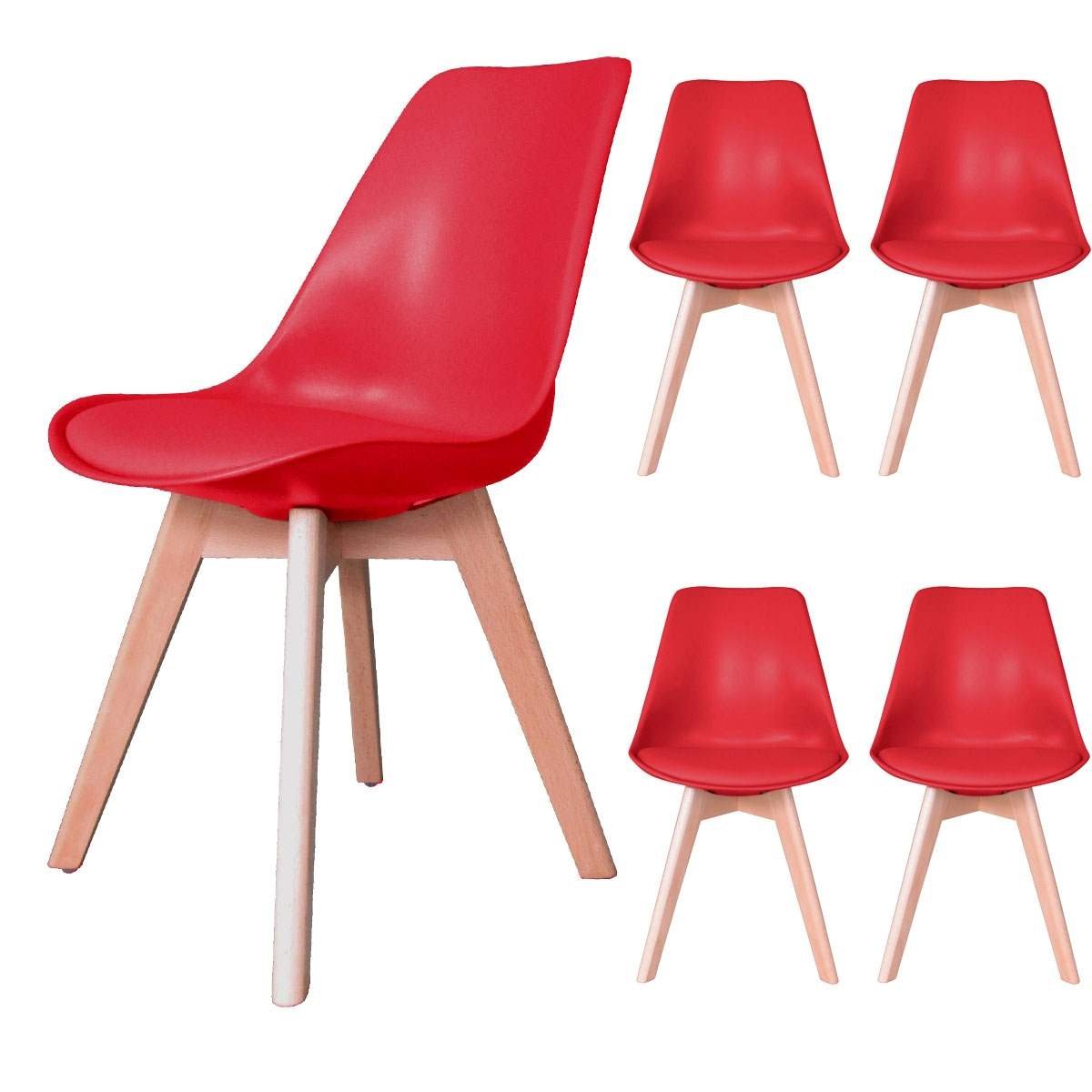 deco in paris 3 lot de 4 chaises scandinave rouge gala gala rouge x4. Black Bedroom Furniture Sets. Home Design Ideas
