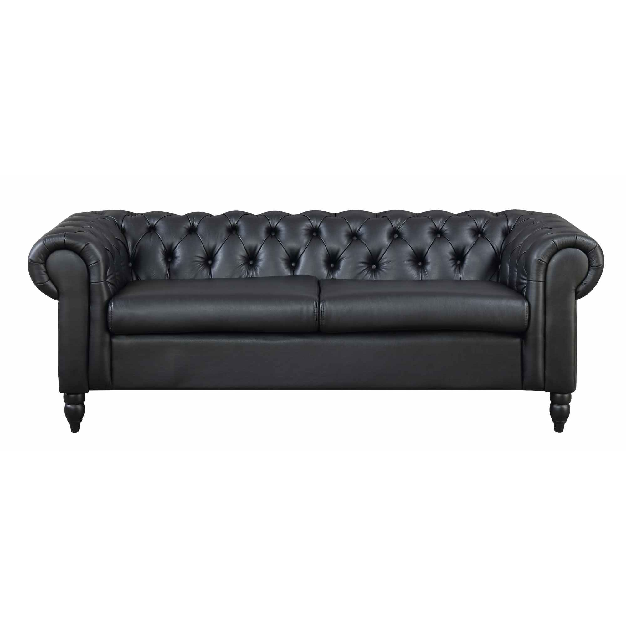 Deco in paris canape chesterfield 3 places noir winston chester winston 3p - Canape chesterfield noir ...