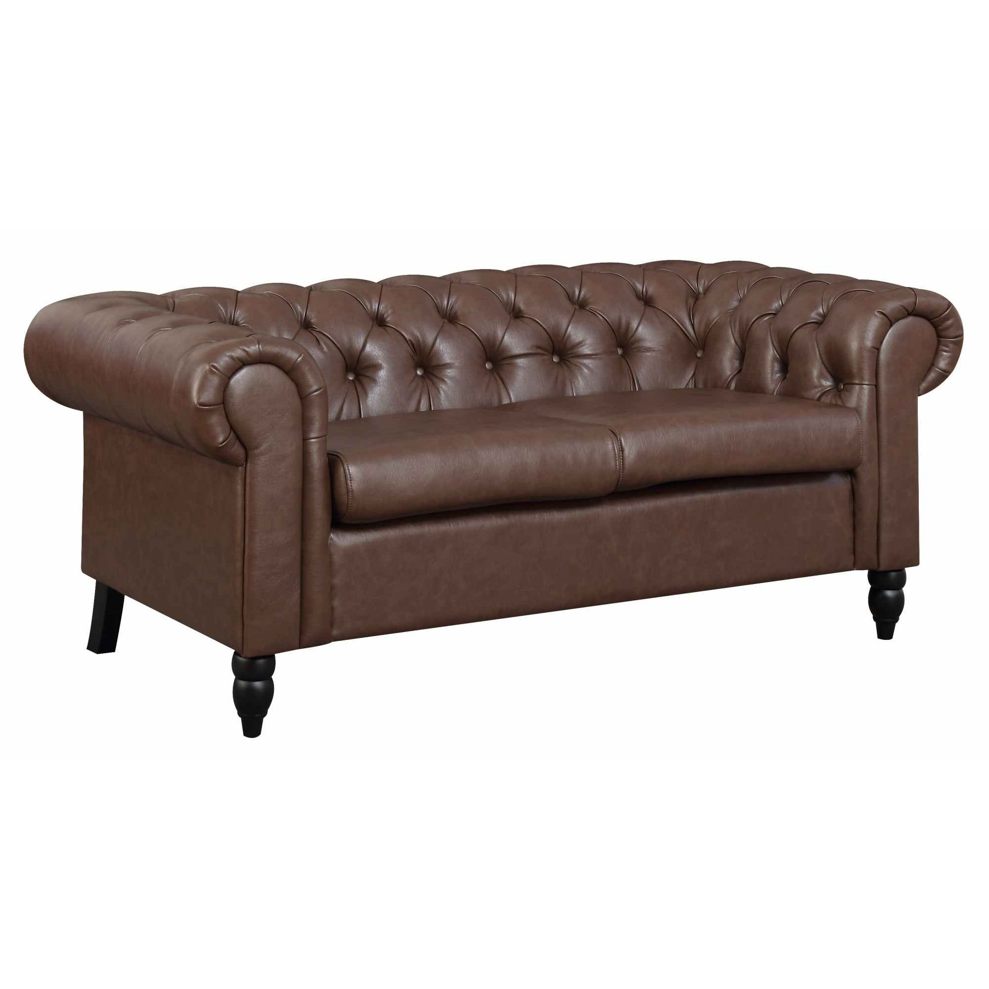 Deco in paris canape chesterfield 2 places marron for Chesterfield canape