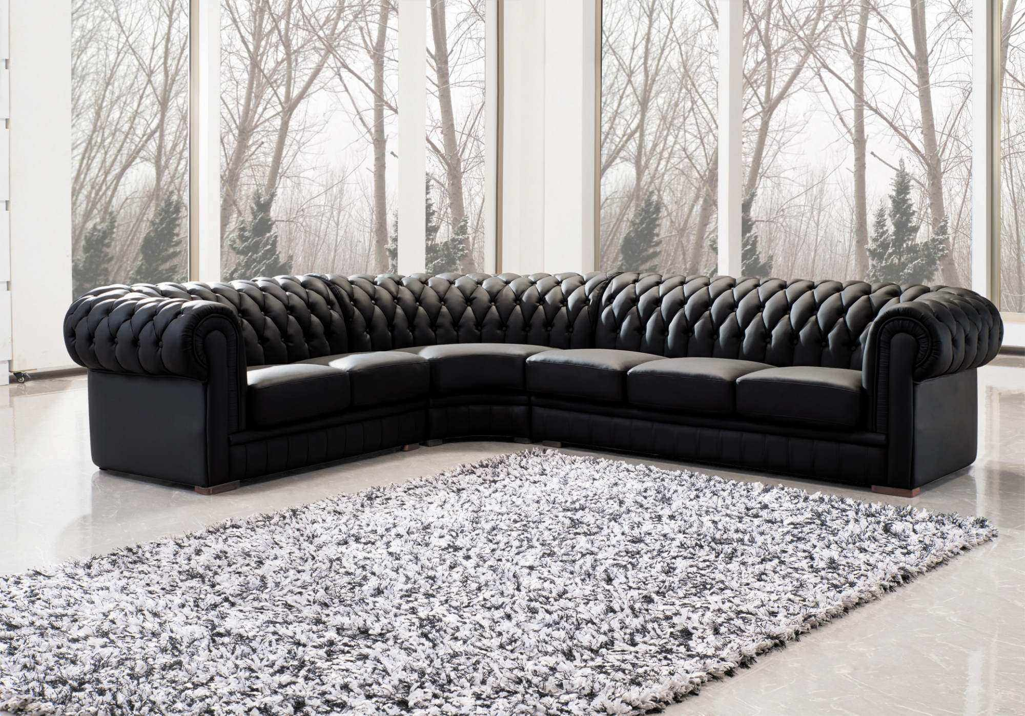 deco in paris grand canape d angle capitonne noir chesterfield gauche can angle chester noir 2a3. Black Bedroom Furniture Sets. Home Design Ideas