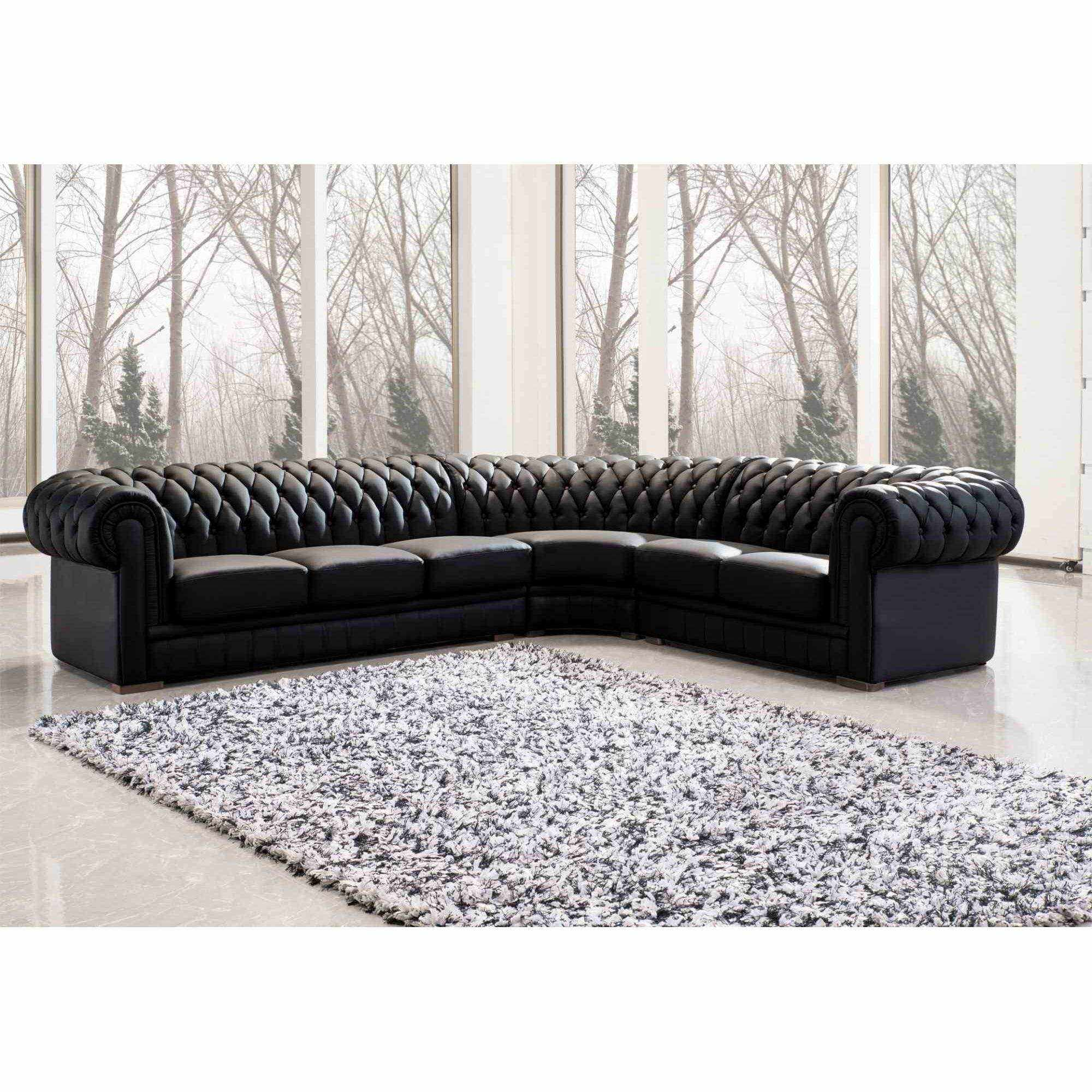 deco in paris 7 grand canape d angle capitonne noir chesterfield droit can angle chester noir 3a2. Black Bedroom Furniture Sets. Home Design Ideas
