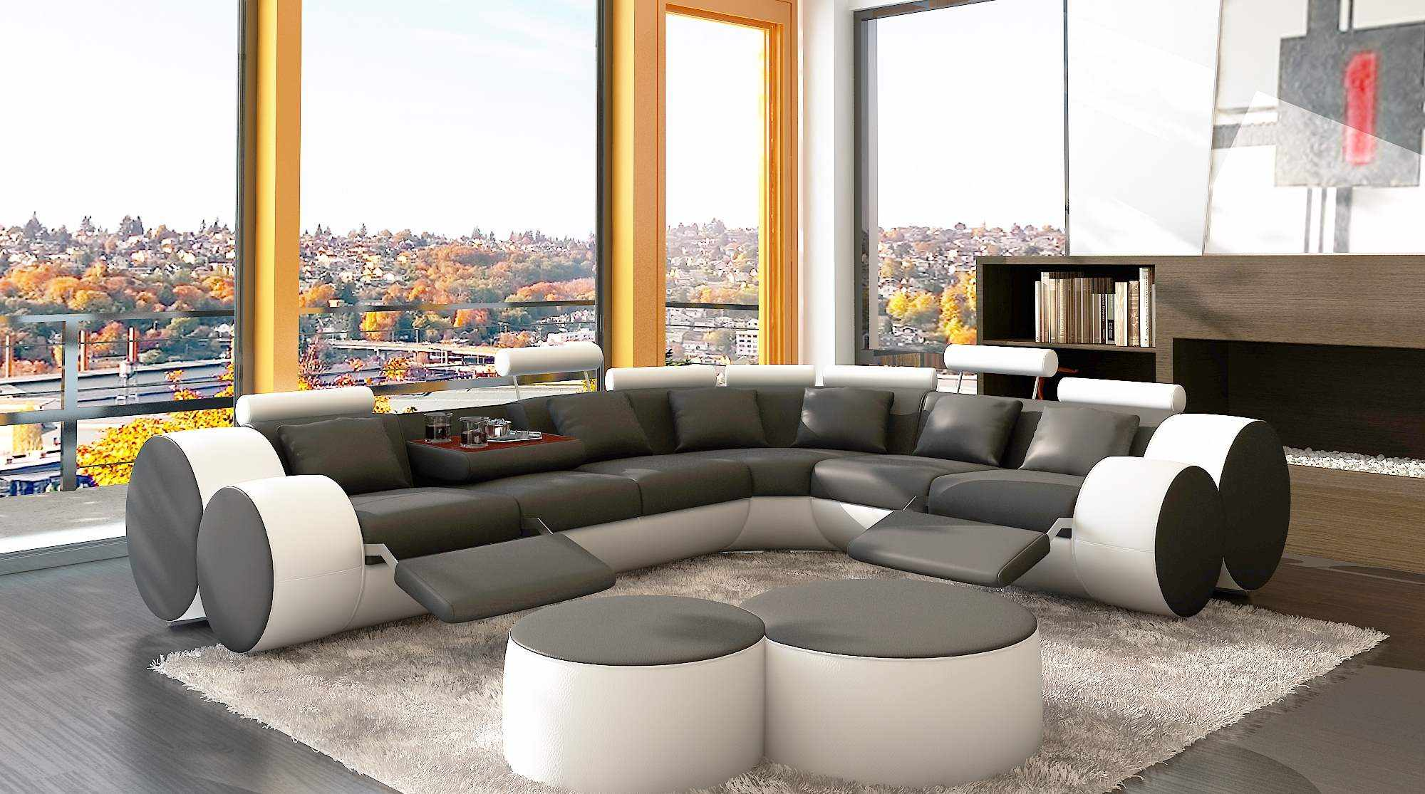 deco in paris 1 canape d angle cuir gris et blanc positions relax roma can ang roma gris blanc. Black Bedroom Furniture Sets. Home Design Ideas