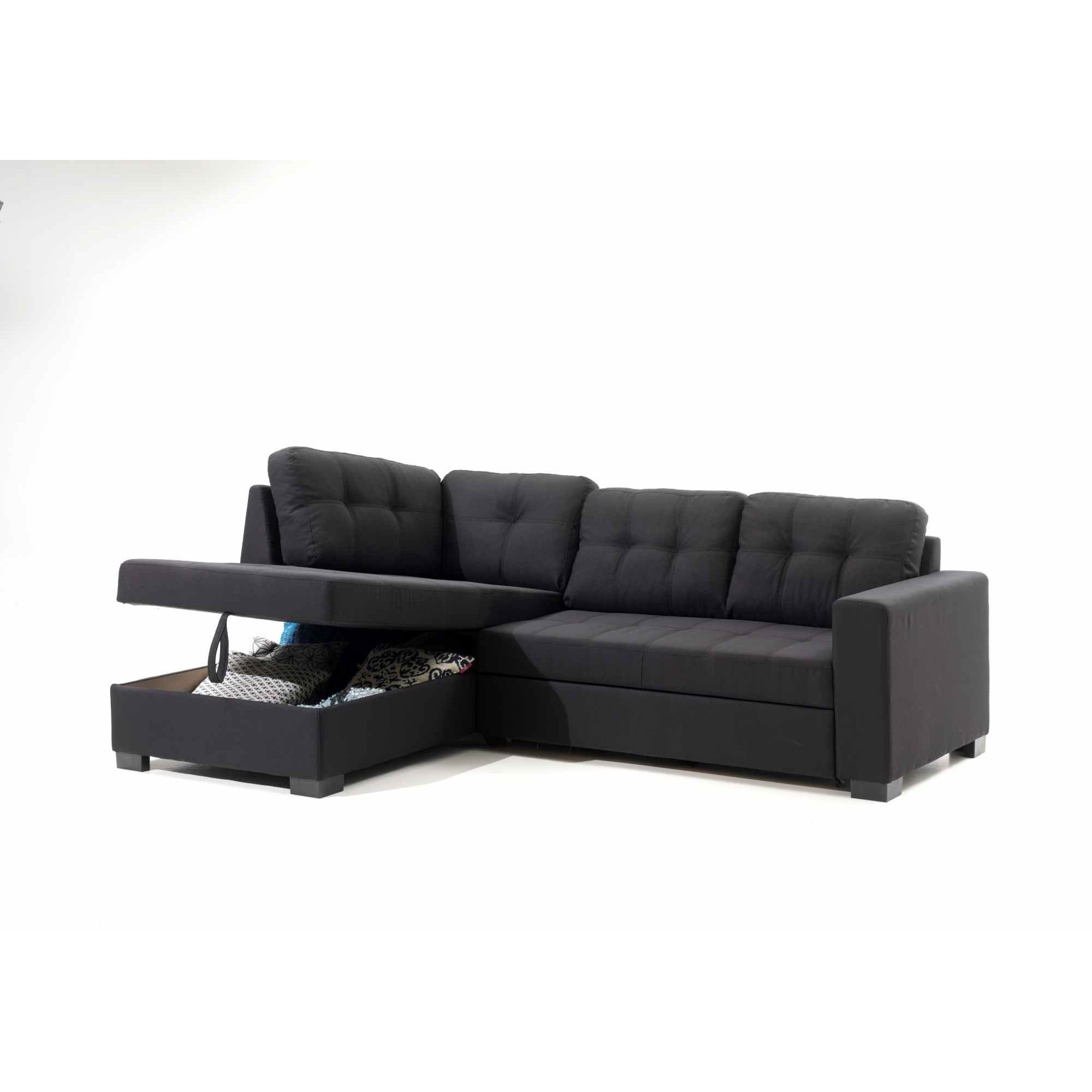 deco in paris canape d angle gauche convertible avec coffre de rangement en tissu noir kalypso. Black Bedroom Furniture Sets. Home Design Ideas