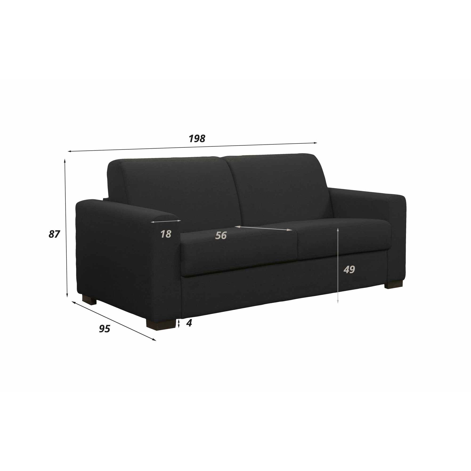 DECO IN PARIS Canape convertible 3 places louna en tissu