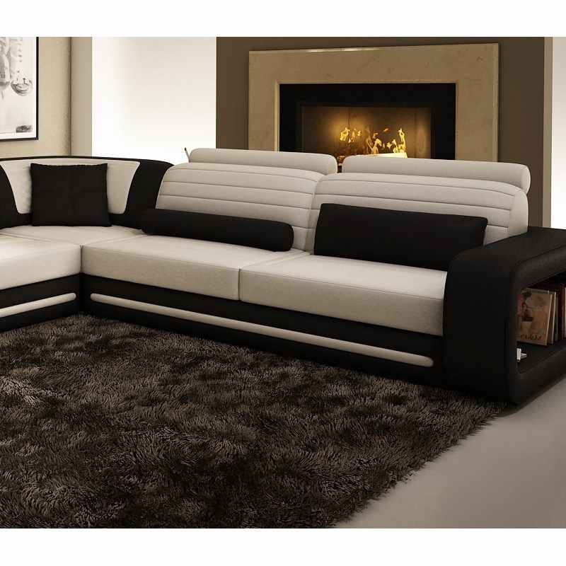 deco in paris canape d angle cuir new york noir et blanc angle droite 1005c. Black Bedroom Furniture Sets. Home Design Ideas