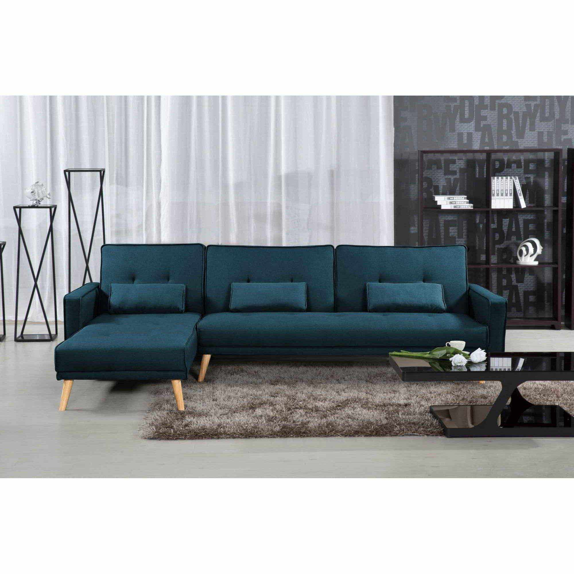 deco in paris 6 canape d angle convertible modulable en tissu bleu canard clea angle gauche. Black Bedroom Furniture Sets. Home Design Ideas