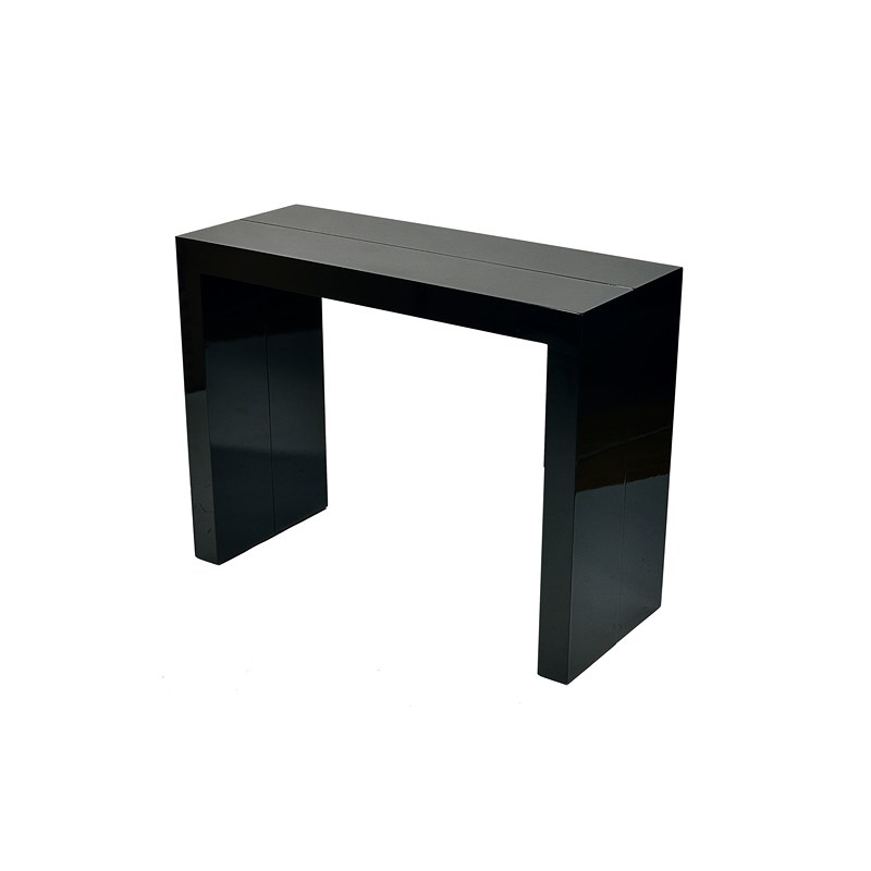 deco in paris table console extensible noire laquee 4 rallonges paris tab console 4 mdf paris noir. Black Bedroom Furniture Sets. Home Design Ideas