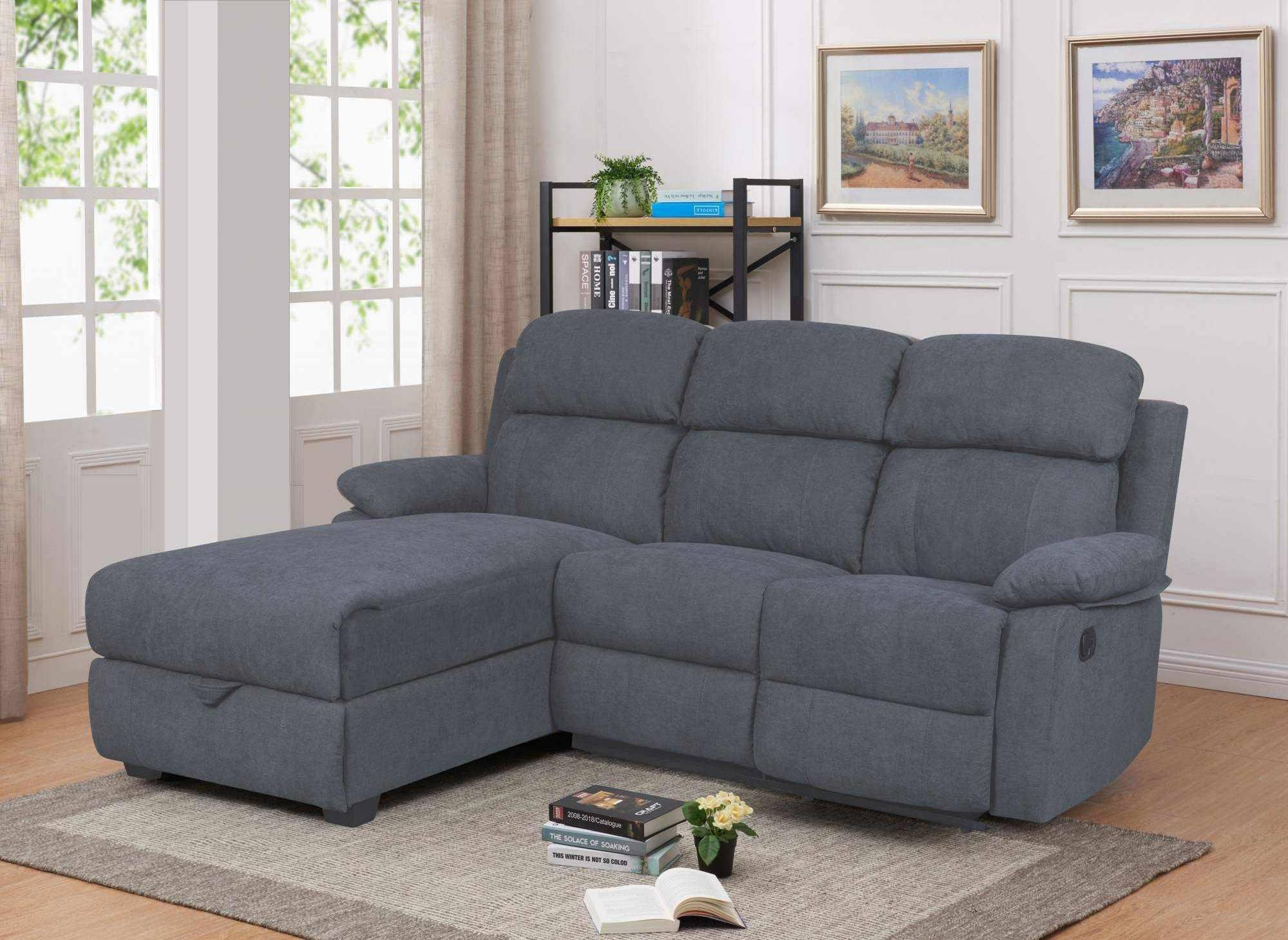Deco in paris canape relax angle gauche avec meridienne et coffre de rangement en tissu gris for Housse de canape angle avec meridienne