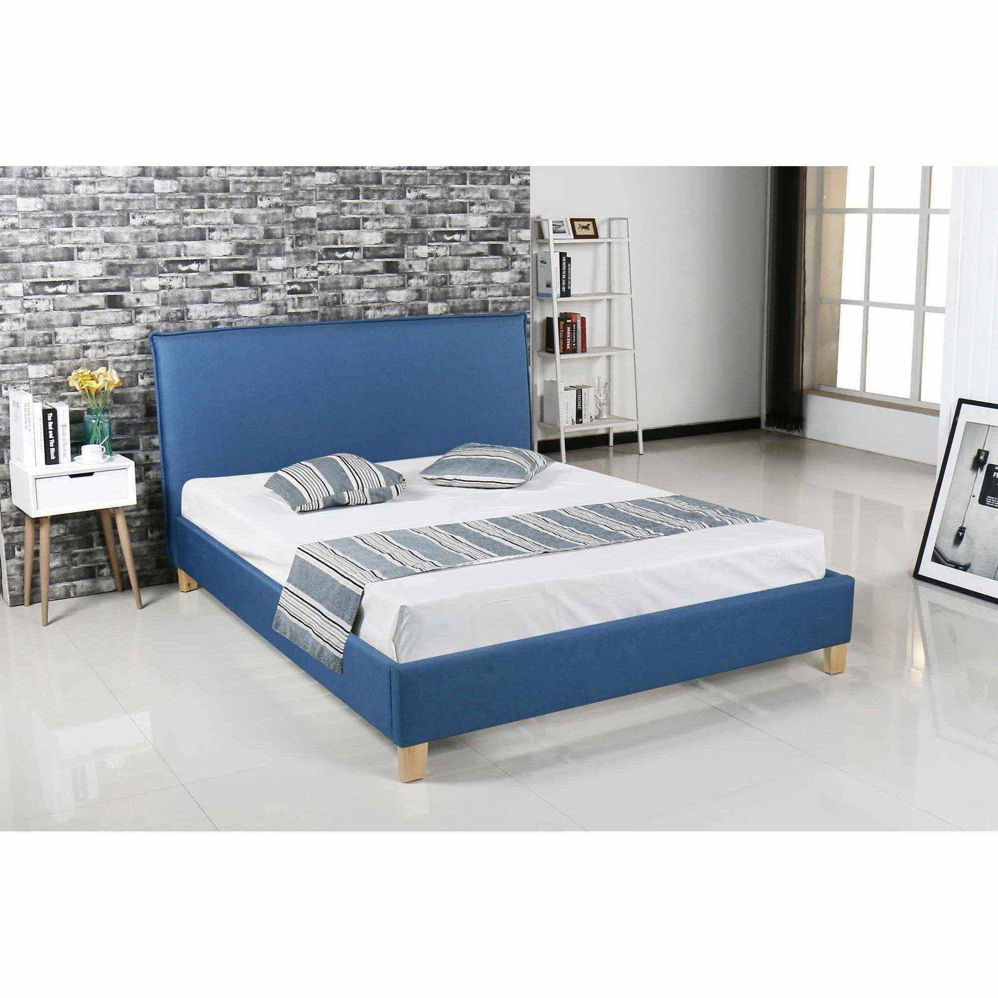 deco in paris 9 lit scandinave en tissu bleu brook. Black Bedroom Furniture Sets. Home Design Ideas