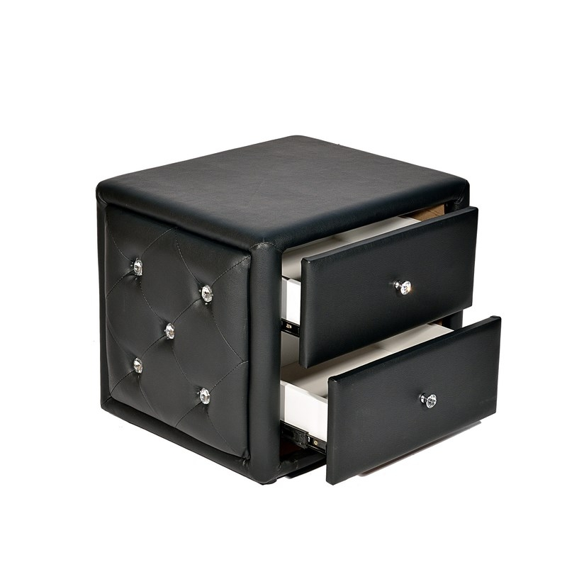 Deco in paris table de chevet noir luxure table chevet b04 - Table de chevet noire ...