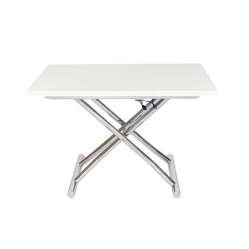 Deco in paris table basse relevable a rallonge blanche 8 personnes neptune - Table relevable rallonge ...