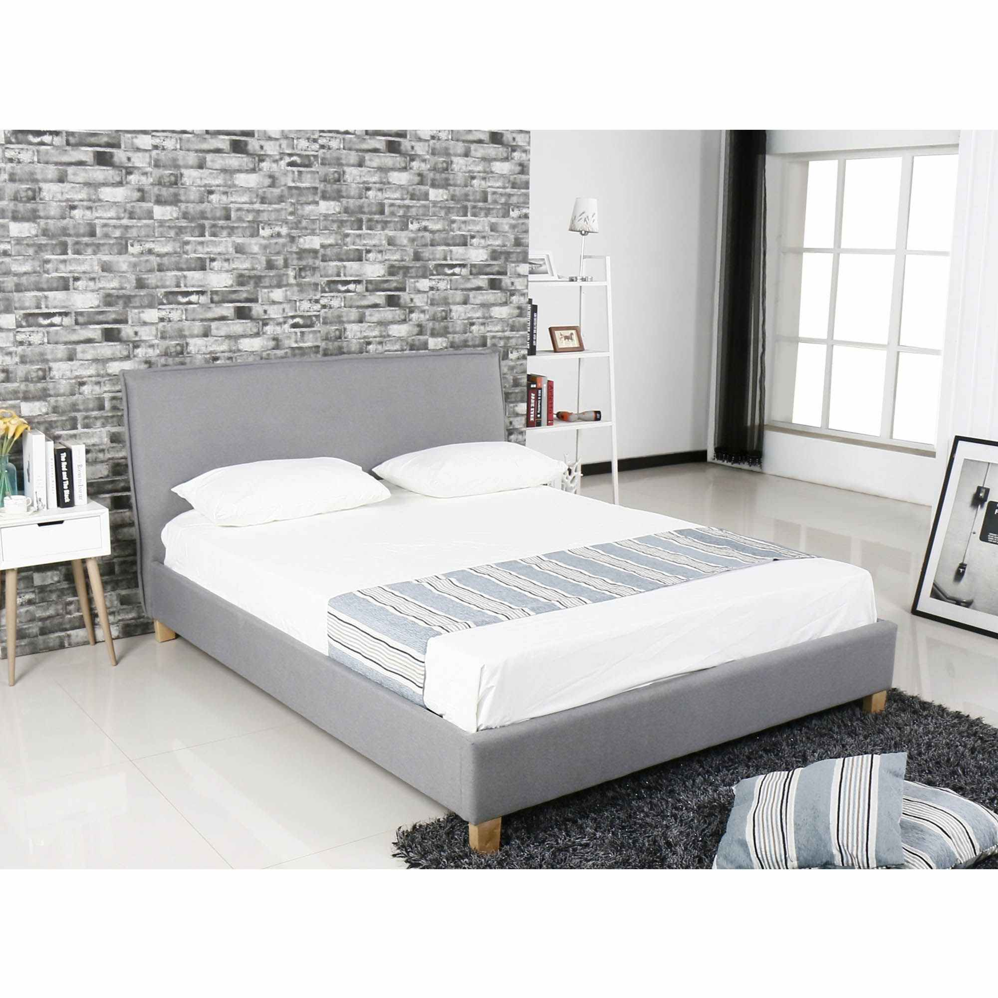 Deco In Paris 0 Lit Scandinave En Tissu Gris Brook 140x190 Cm