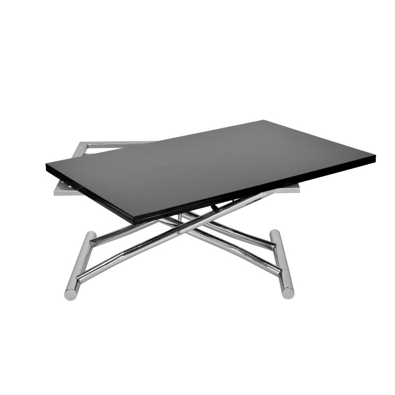 Table basse relevable a rallonge maison design - Table basse relevable noire ...