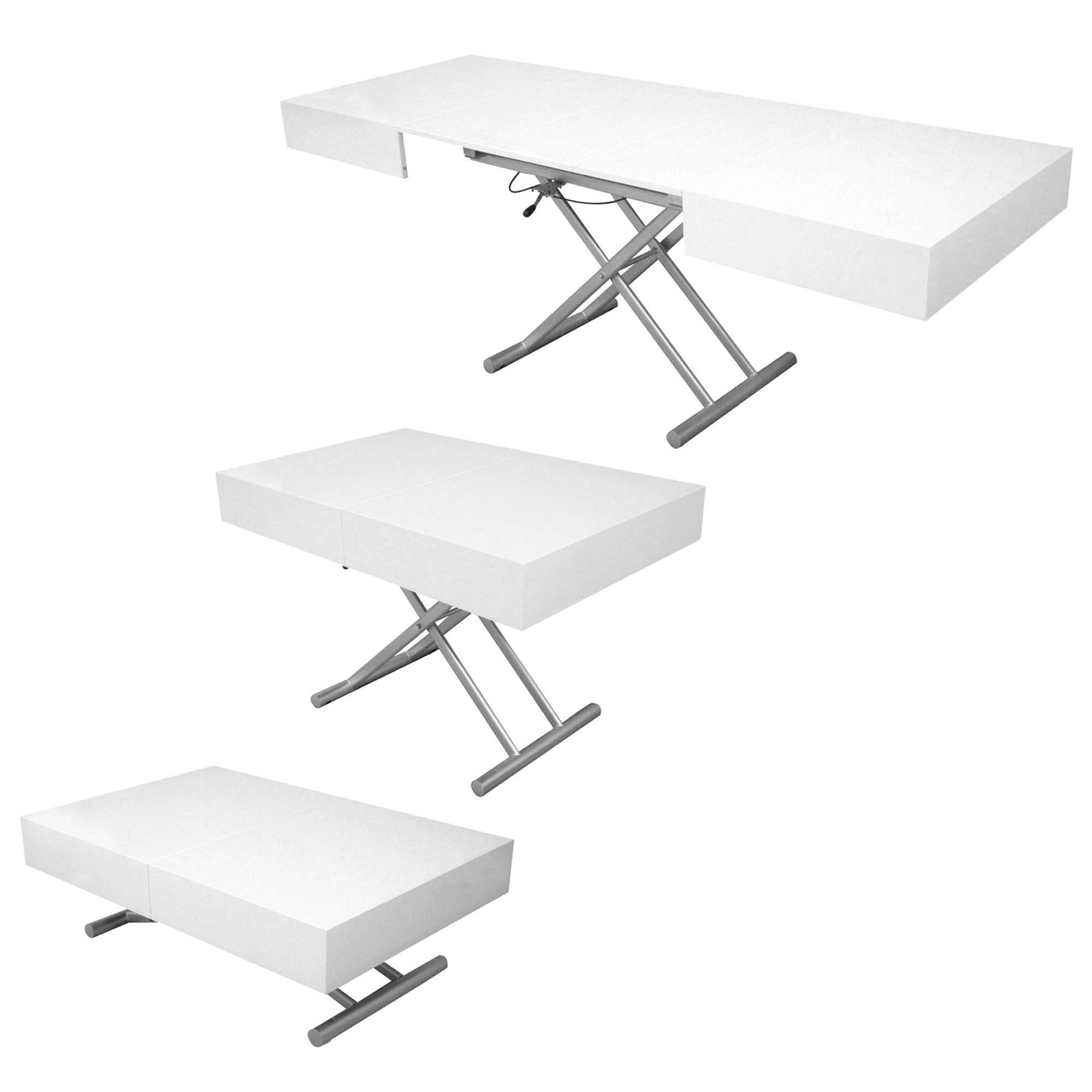 Relevable Extensible Deco Laquee Blanc In Basse Smart Paris Table 54ARjL3