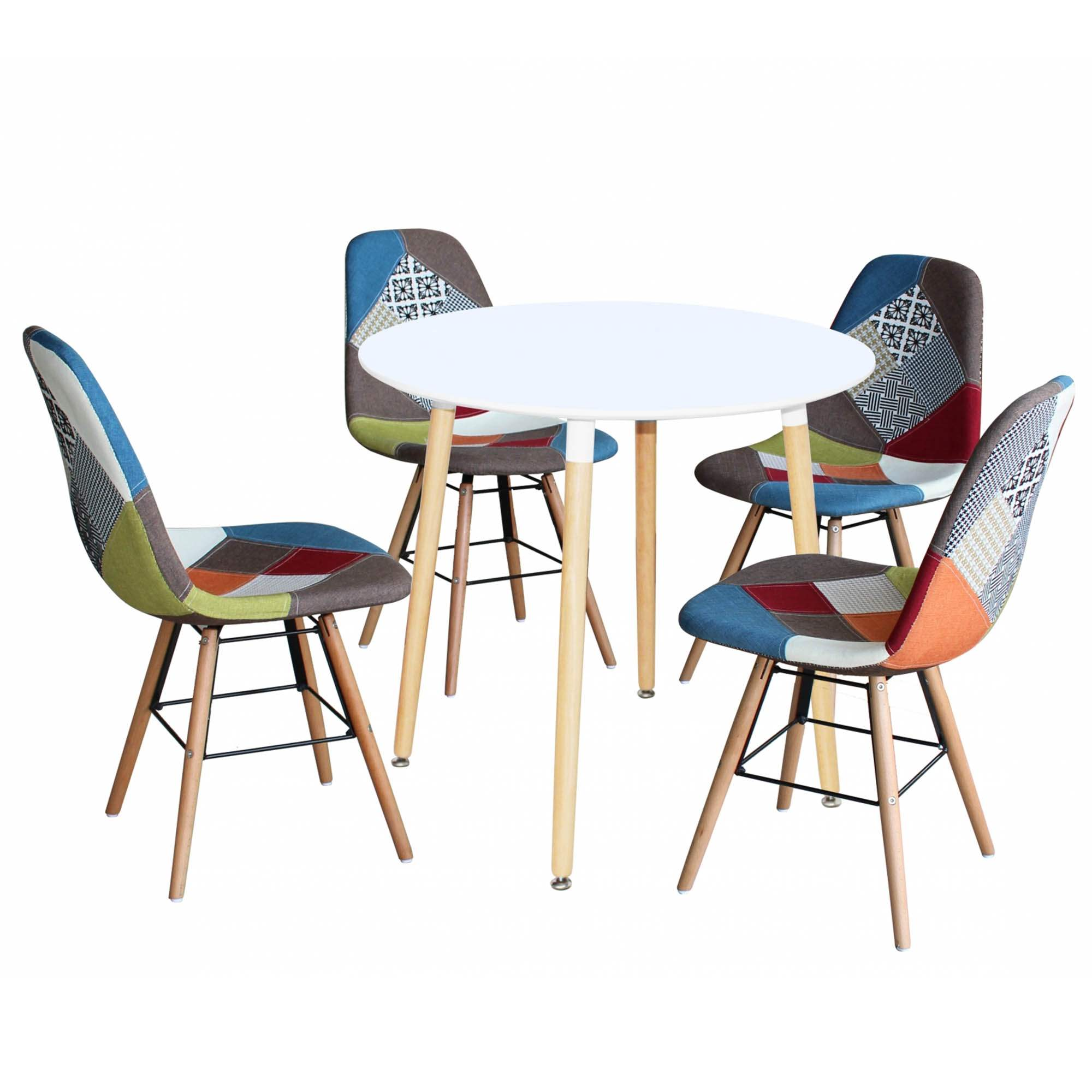 Merveilleux Ensemble Table Ronde RIMMA + 4 Chaise Patchwork Scandinaves