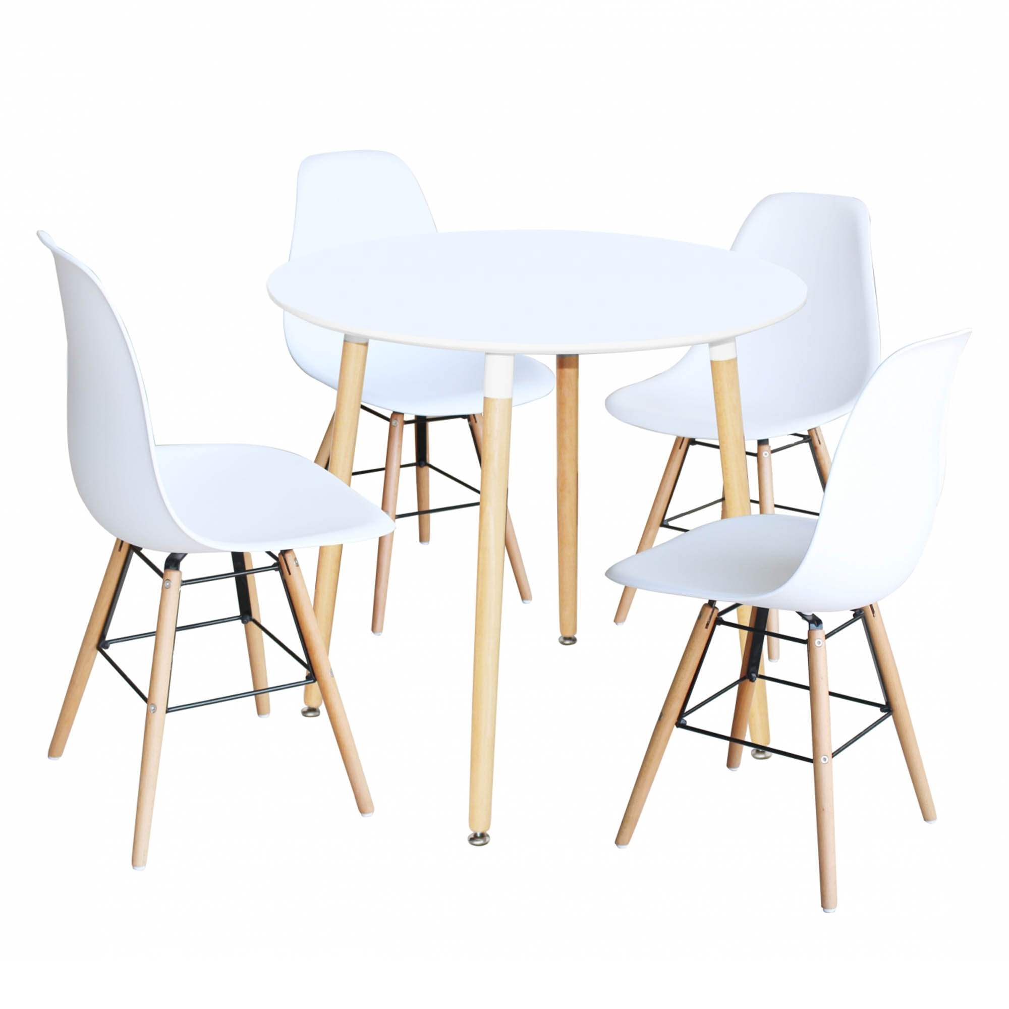 Ensemble Table Ronde RIMMA + 4 Chaise Blanches Scandinaves