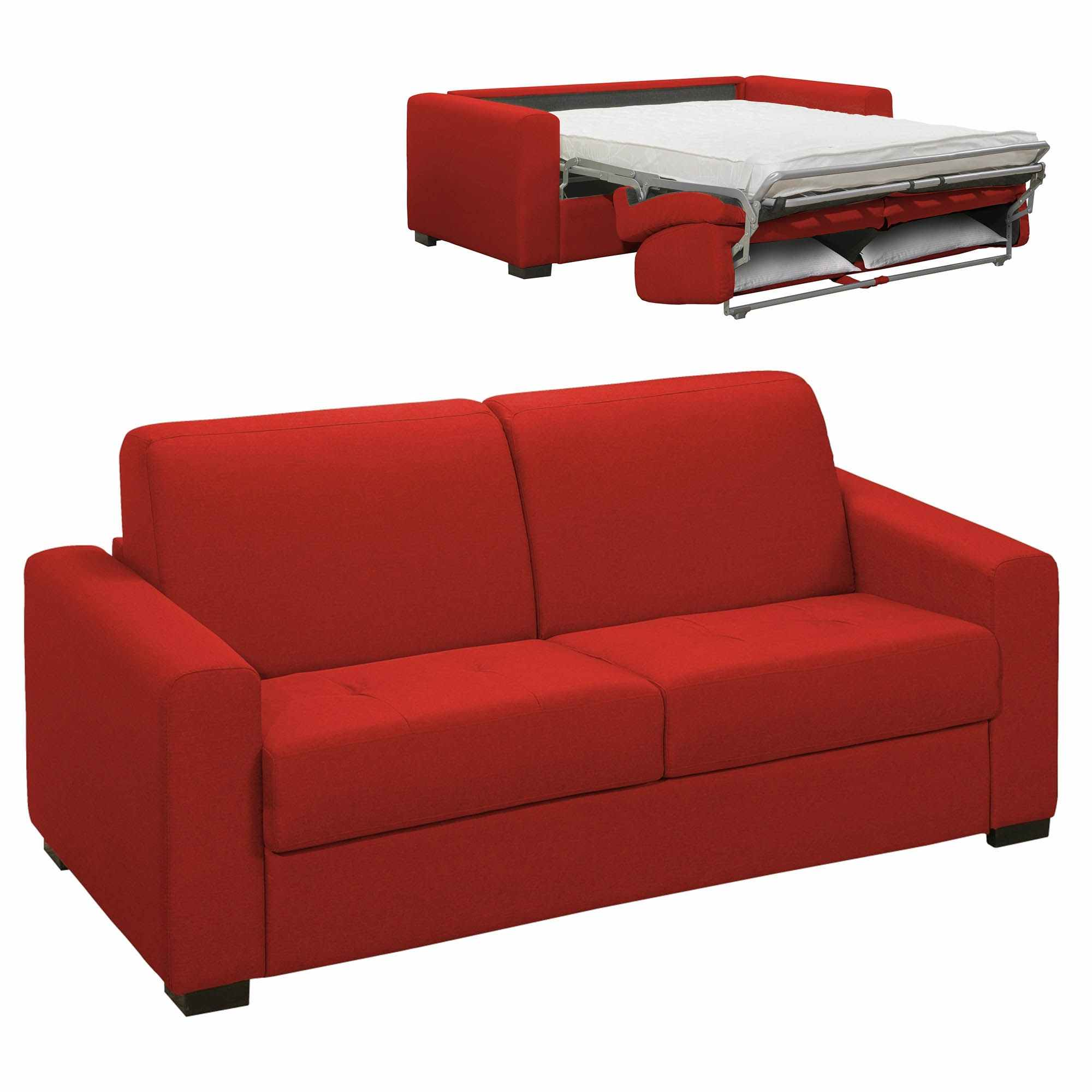 Deco In Paris 9 Canape Convertible 3 Places Louna En Tissu Rouge
