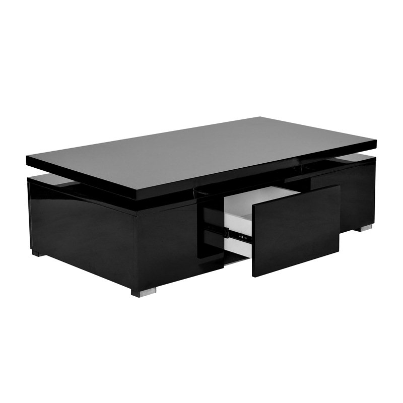 Deco in paris table basse noire laquee a plateau - Tables basses noires ...