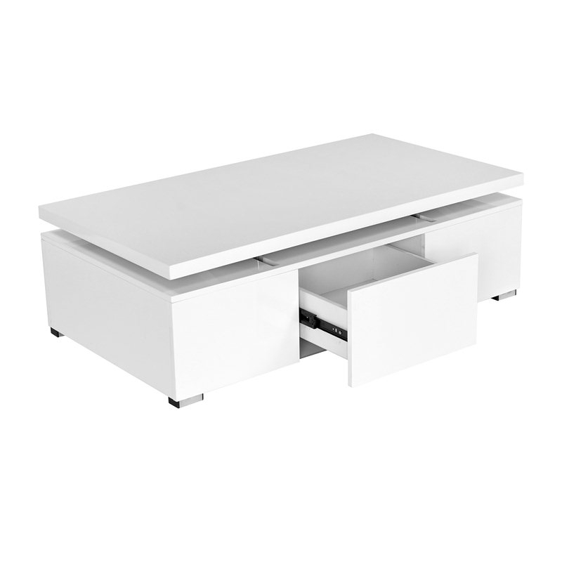 deco in paris table basse blanche laquee a plateau relevale 1 tiroir top tab basse mdf top blanc. Black Bedroom Furniture Sets. Home Design Ideas