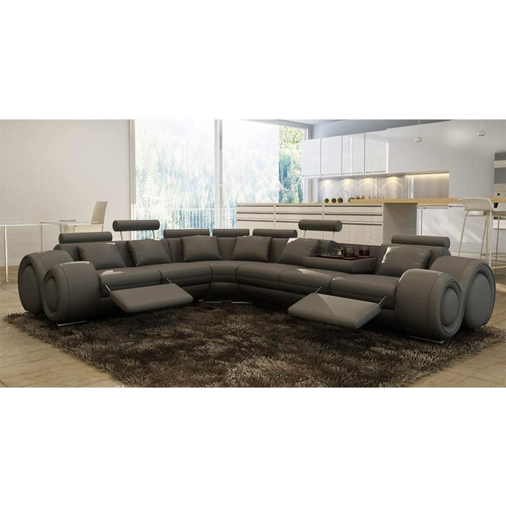 deco in paris canape d angle cuir gris positions relax. Black Bedroom Furniture Sets. Home Design Ideas