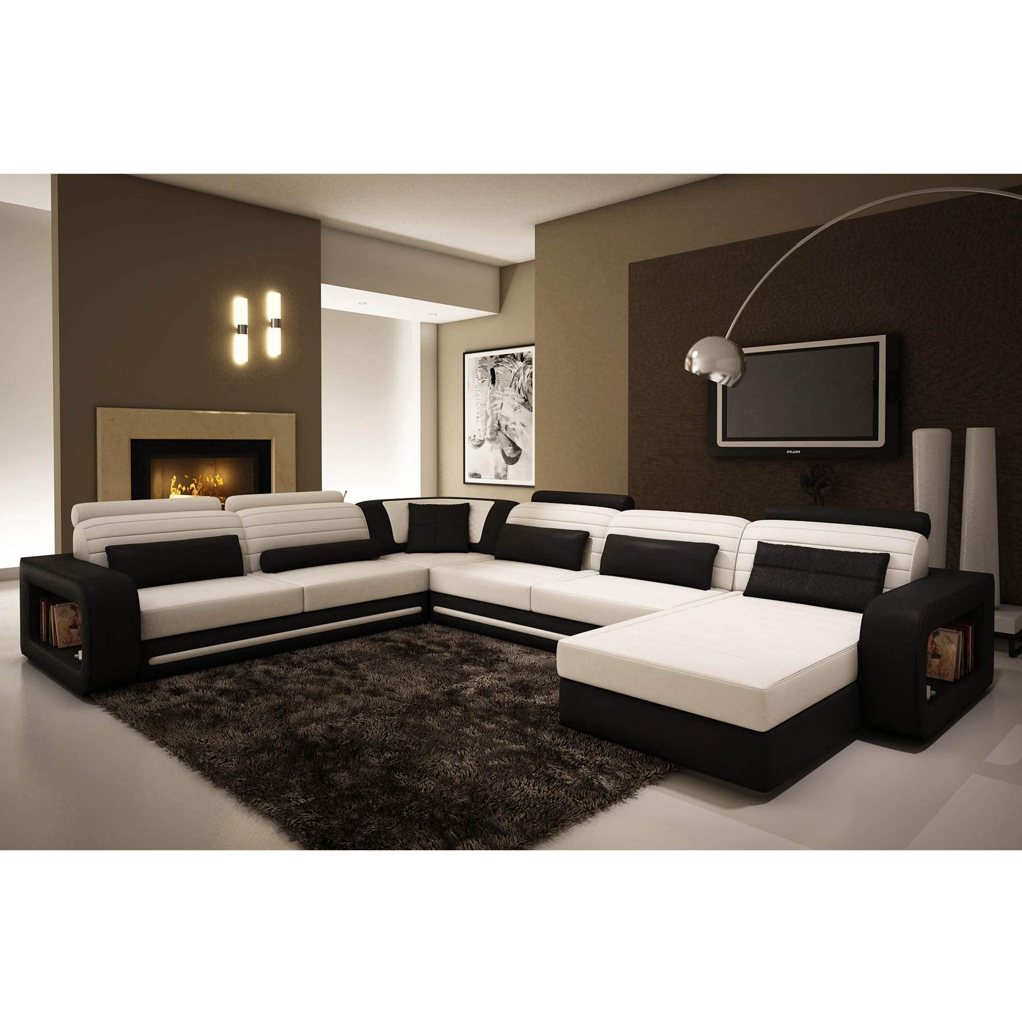 deco in paris canape d angle cuir new york blanc et noir. Black Bedroom Furniture Sets. Home Design Ideas