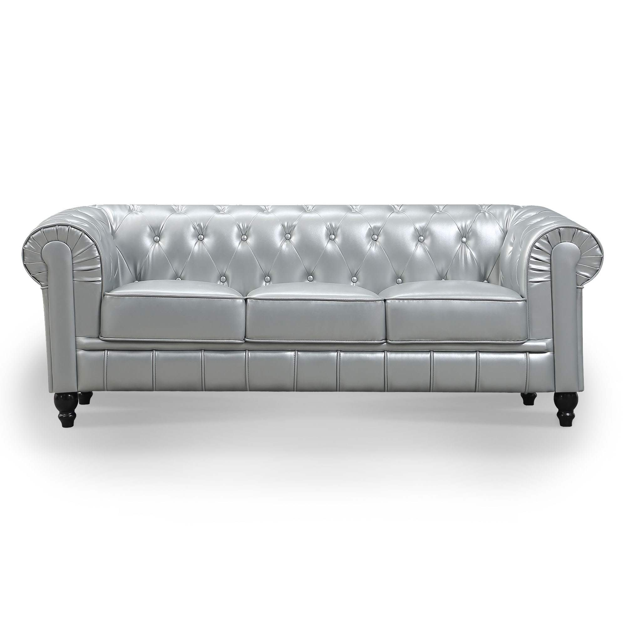 Canapé 3 places argent CHESTERFIELD