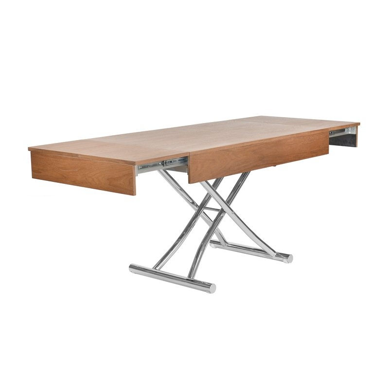 Table basse bois extensible for Table bois massif extensible