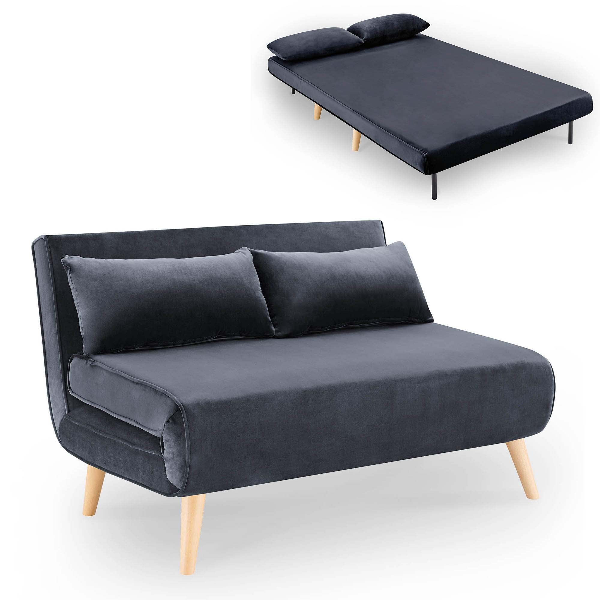 Banquette convertible 2 places en velours gris TONKA
