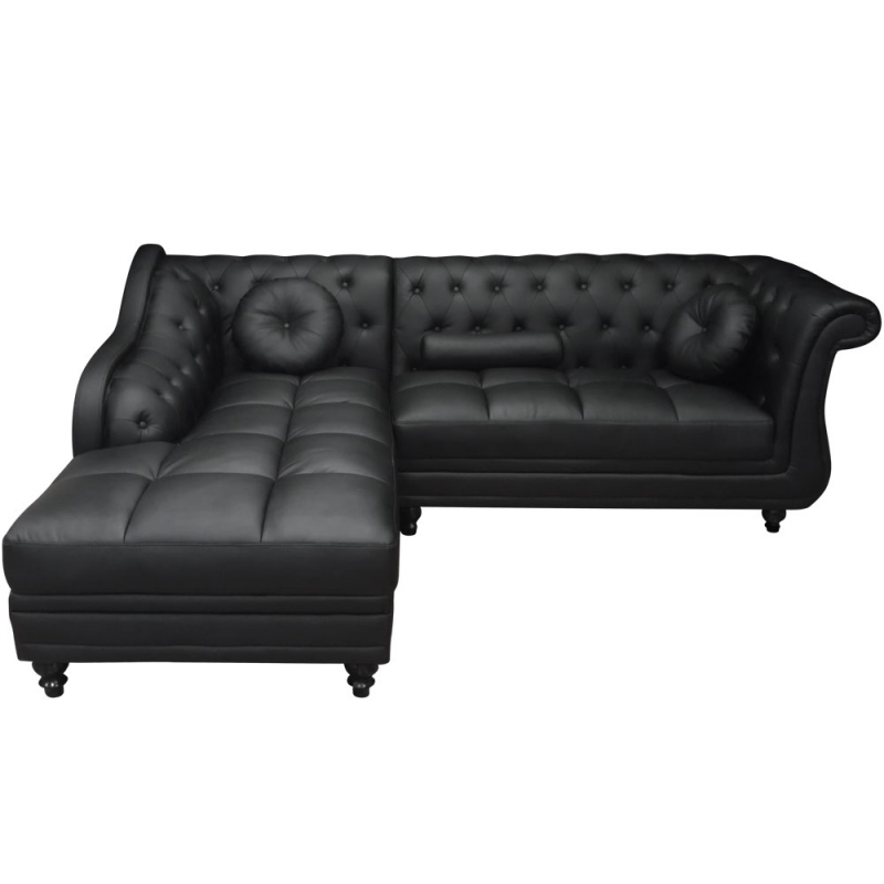 Deco in paris canape d angle 5 places noir chesterfield angle gauche can ch - Canape chesterfield angle ...