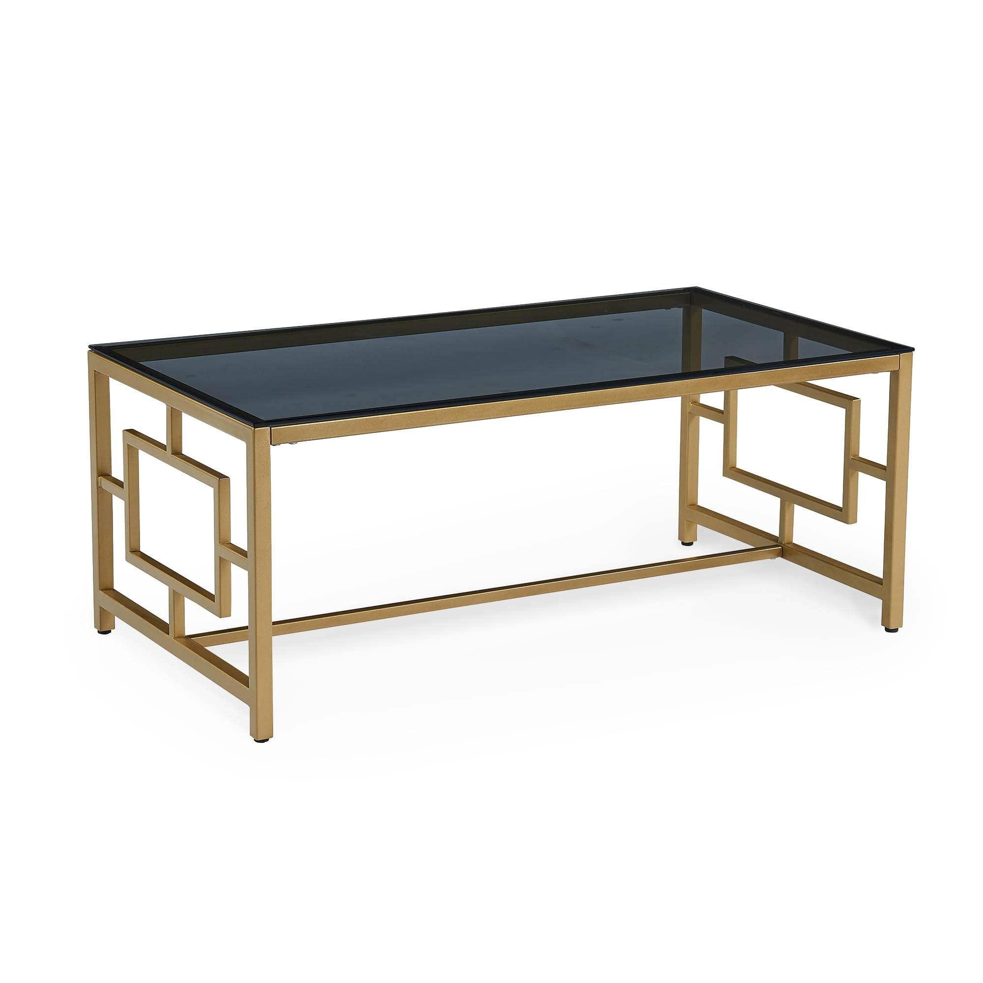 Table Basse Design En Verre Noir Et Metal Dore Rectangulaire Pablo