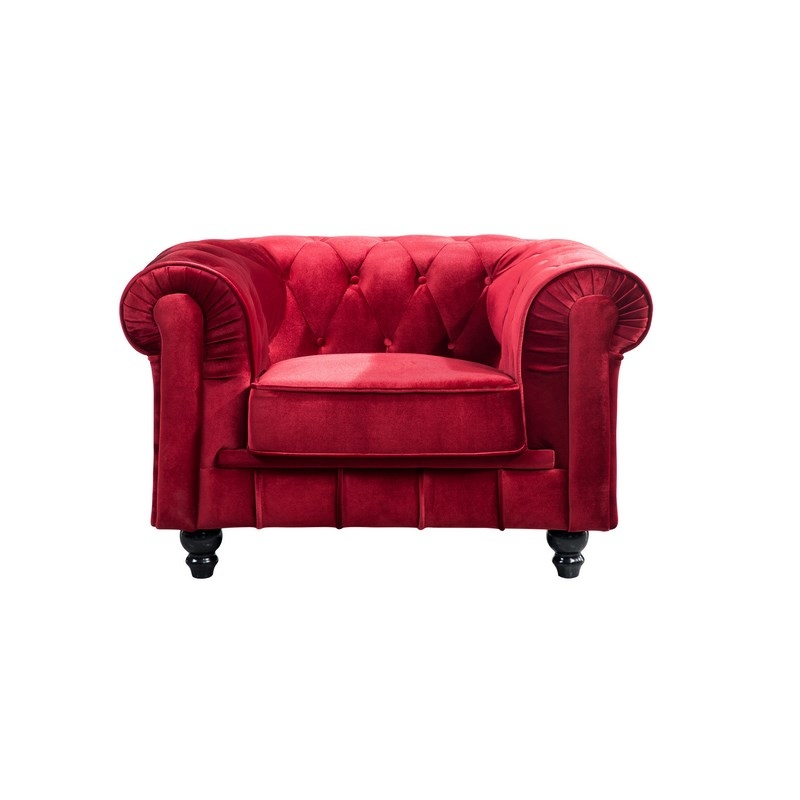 deco in paris fauteuil chesterfield en velours rouge fau chester 1p velours rouge. Black Bedroom Furniture Sets. Home Design Ideas