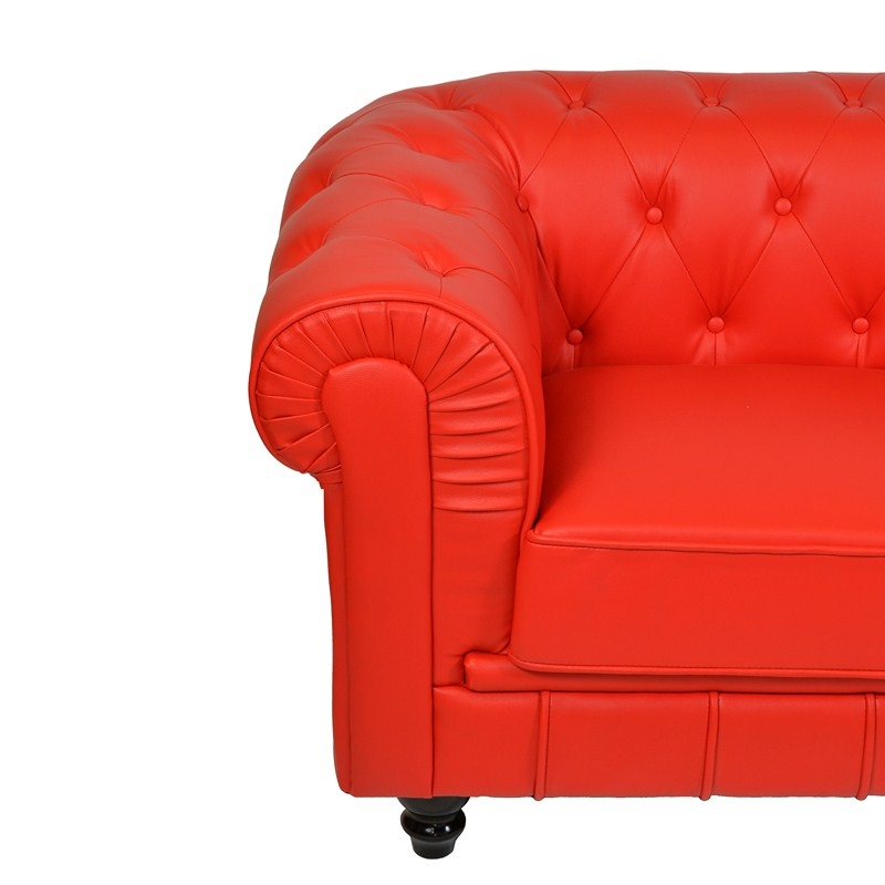Deco in paris canape chesterfield 3 places rouge can chester 3p pu rouge - Canape chesterfield rouge cuir ...