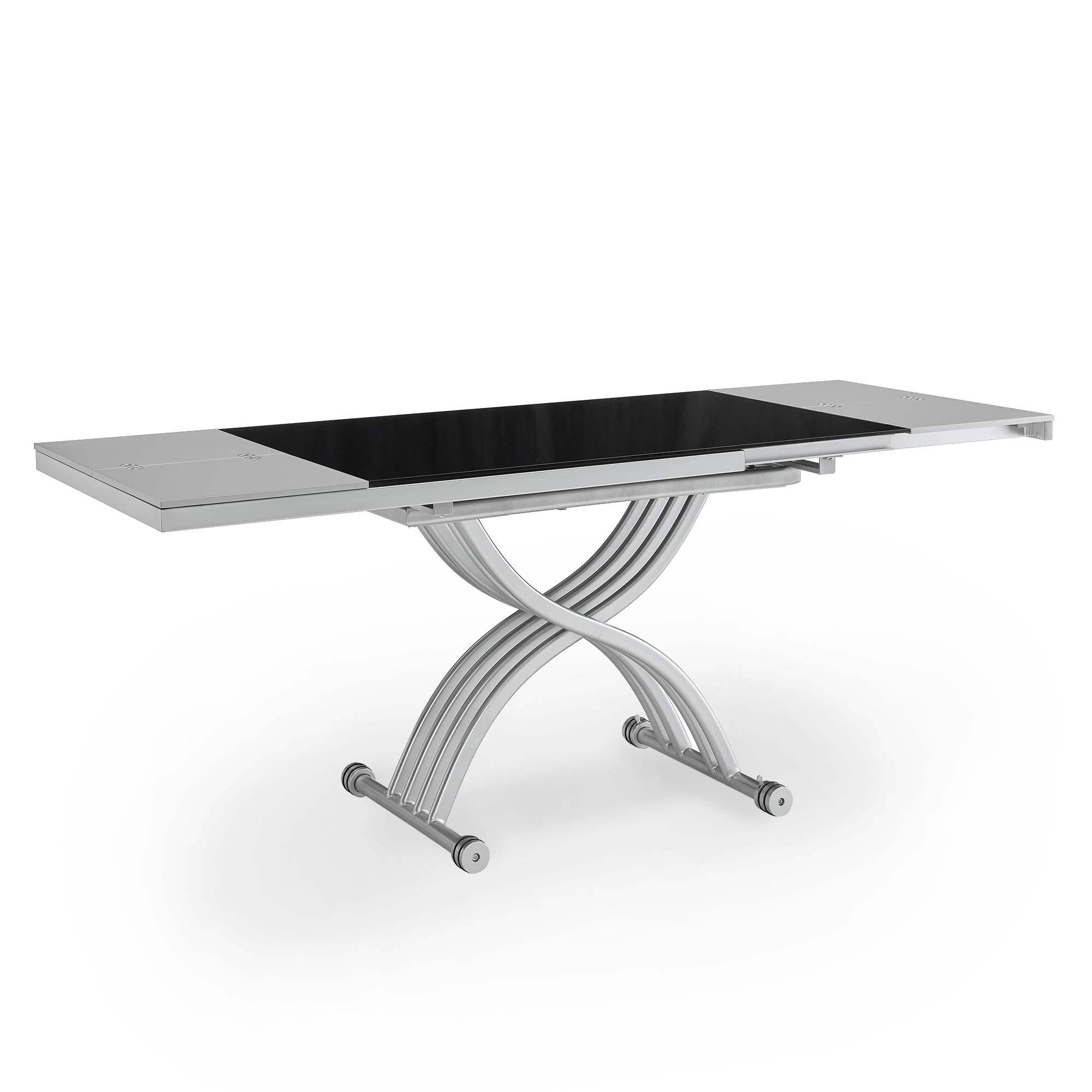 Table basse relevable 2 allonges noir et gris STUDIO