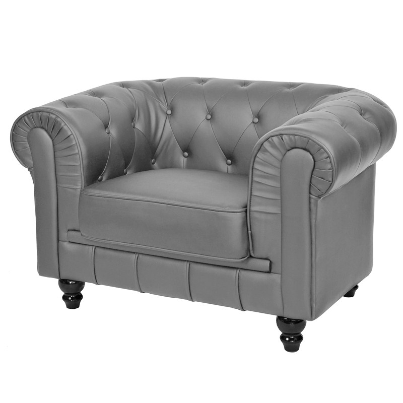 deco in paris fauteuil gris chesterfield fau chester 1p pu gris. Black Bedroom Furniture Sets. Home Design Ideas