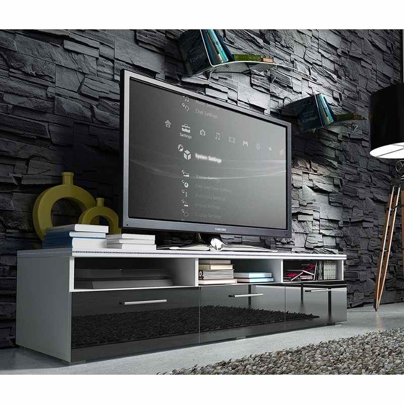 Deco in paris meuble tv bas avec led design aurora for Meuble tv design avec led