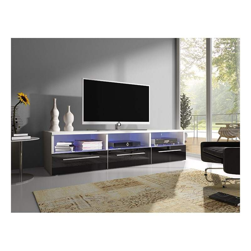 meuble tv blanc pas cher cdiscount. Black Bedroom Furniture Sets. Home Design Ideas