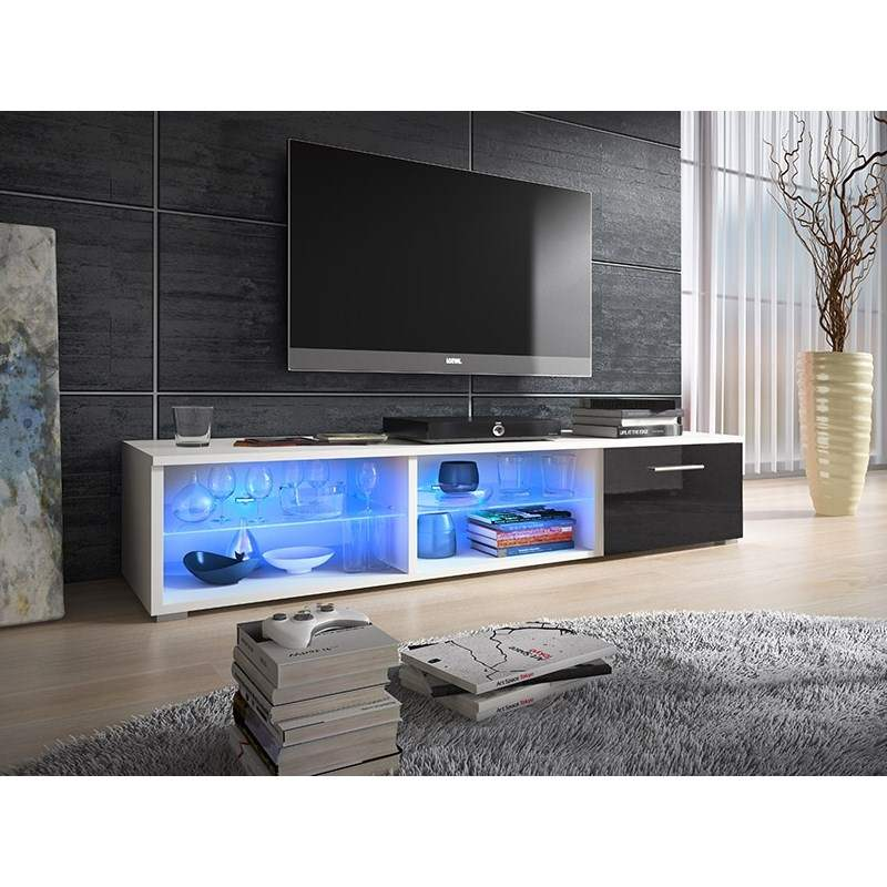 Deco in paris meuble tv design avec led alpha meuble tv for Meuble tv led