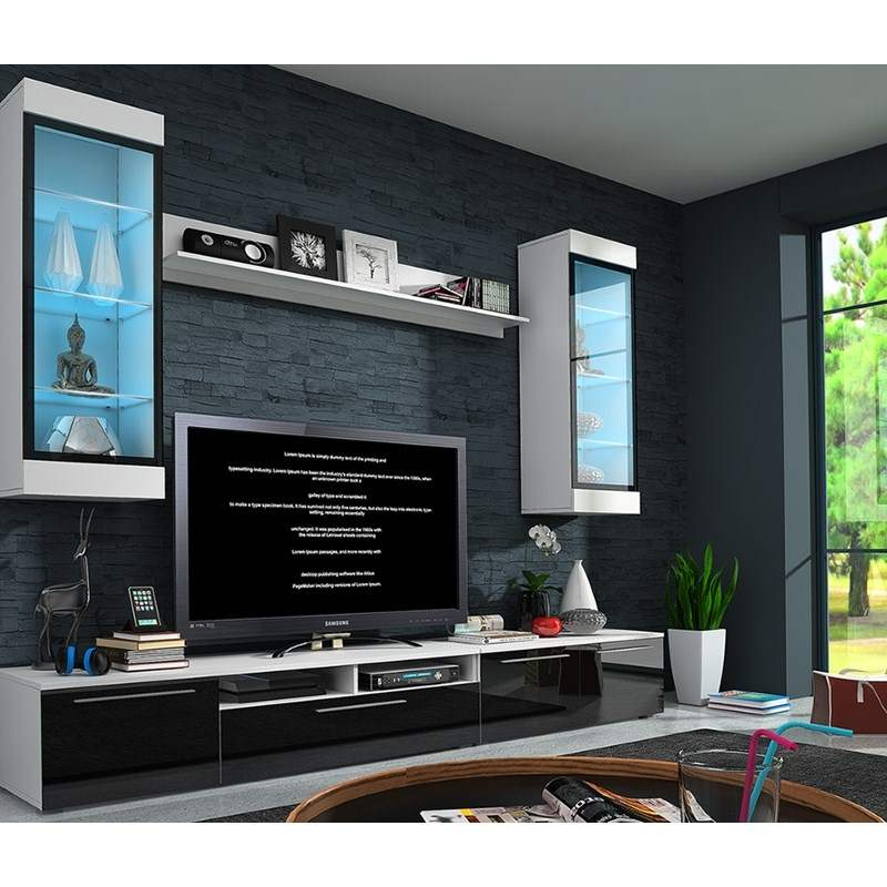 deco in paris ensemble meuble bas tv design avec led sani ensemble meuble bas tv design avec. Black Bedroom Furniture Sets. Home Design Ideas