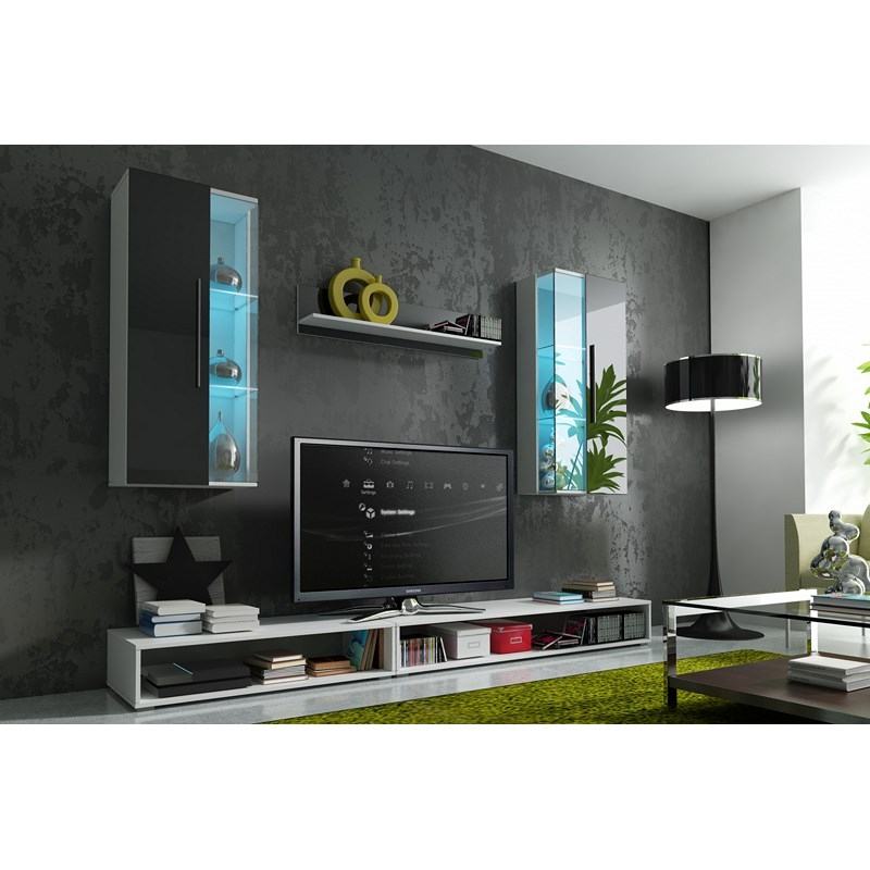 deco in paris ensemble meuble tv design avec led eston. Black Bedroom Furniture Sets. Home Design Ideas