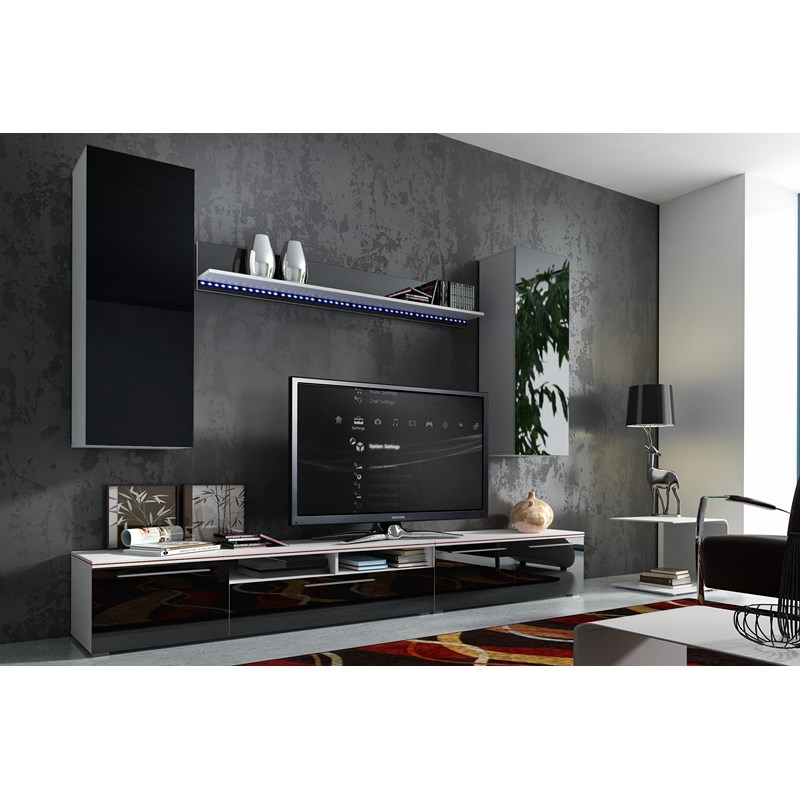 deco in paris ensemble tv bas design avec led letone meuble tv magnum pol. Black Bedroom Furniture Sets. Home Design Ideas