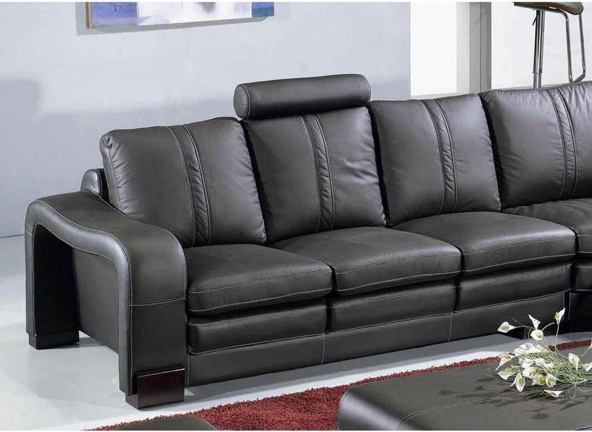 Canapé d'angle réversible + 2 poufs en cuir noir HAVANE