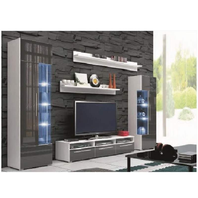 deco in paris ensemble meuble bas tv design avec led andal complet gris meuble tv roma1 gris pol. Black Bedroom Furniture Sets. Home Design Ideas