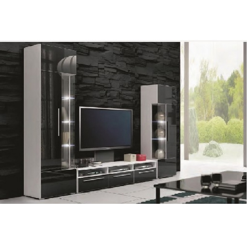 deco in paris ensemble meuble bas tv design noir avec led andal meuble tv roma noir pol. Black Bedroom Furniture Sets. Home Design Ideas