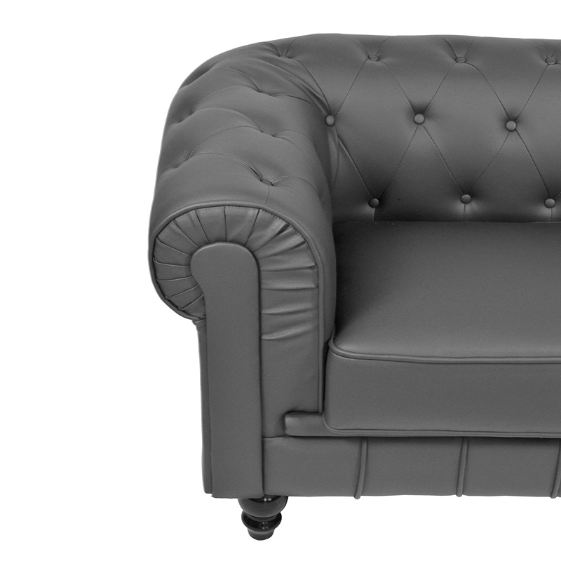 Deco in paris canape 2 places gris chesterfield can chester 2p pu gris - Canape chesterfield cuir gris ...