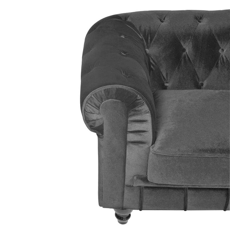 Canapé 2 places velours Gris CHESTERFIELD
