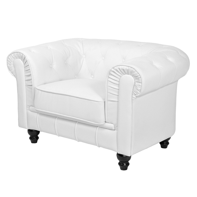 deco in paris fauteuil chesterfield blanc fau chester 1p. Black Bedroom Furniture Sets. Home Design Ideas