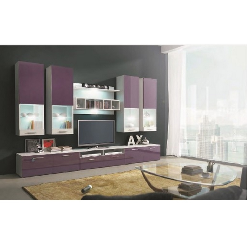 Deco in paris ensemble meuble tv bas violet design avec for Meuble tv design avec led