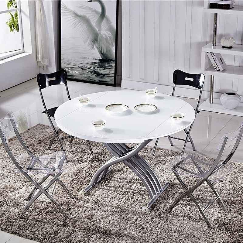 Table Basse Ronde Relevable Extensible Laque Blanche Tab Rondo