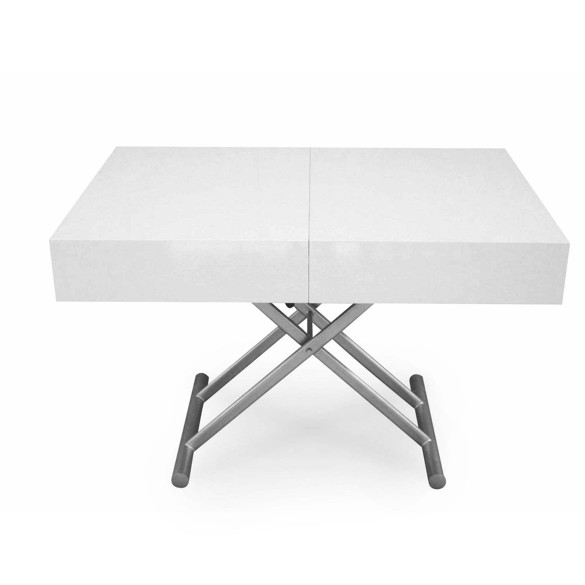 Table basse relevable extensible laquee blanc smart xxl - DECO IN PARIS