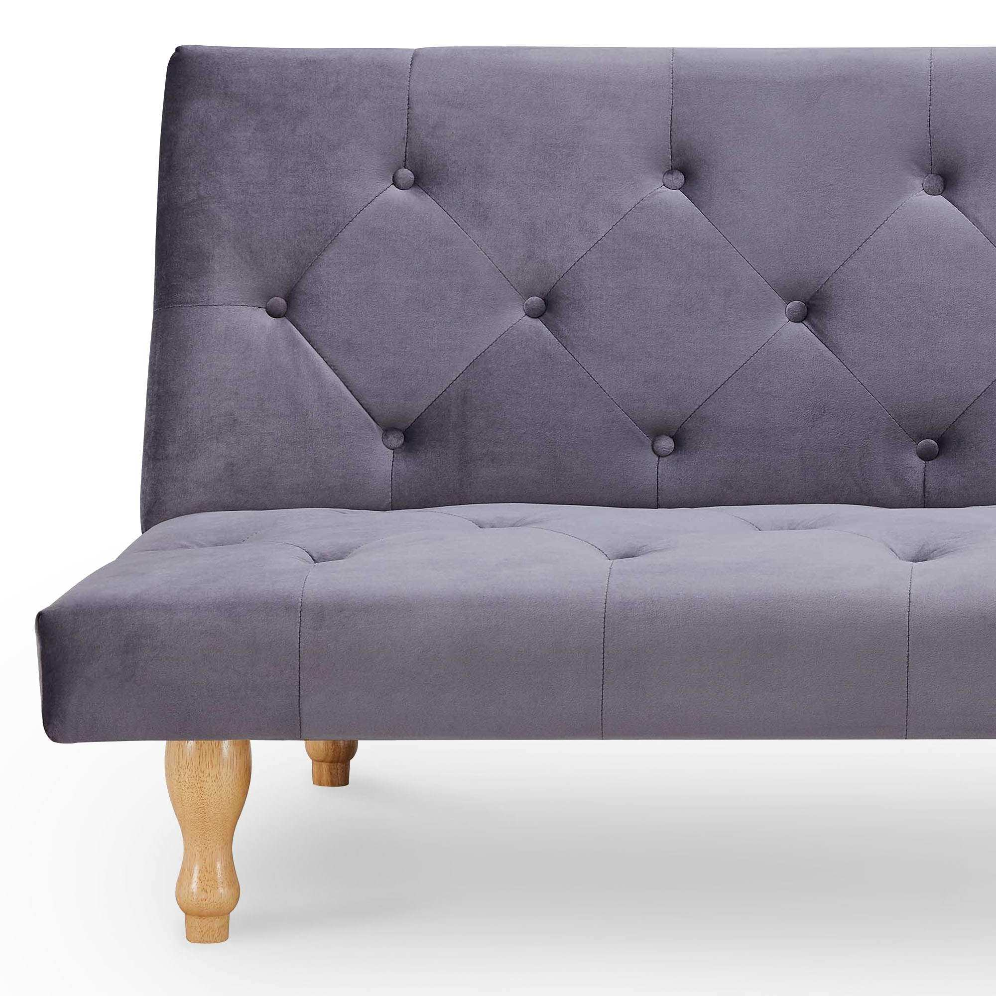 Banquette clic-clac convertible en velours gris 3 places JASON